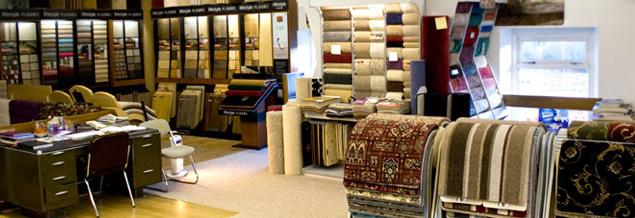 Showroom display of carpets at MKB Carpets